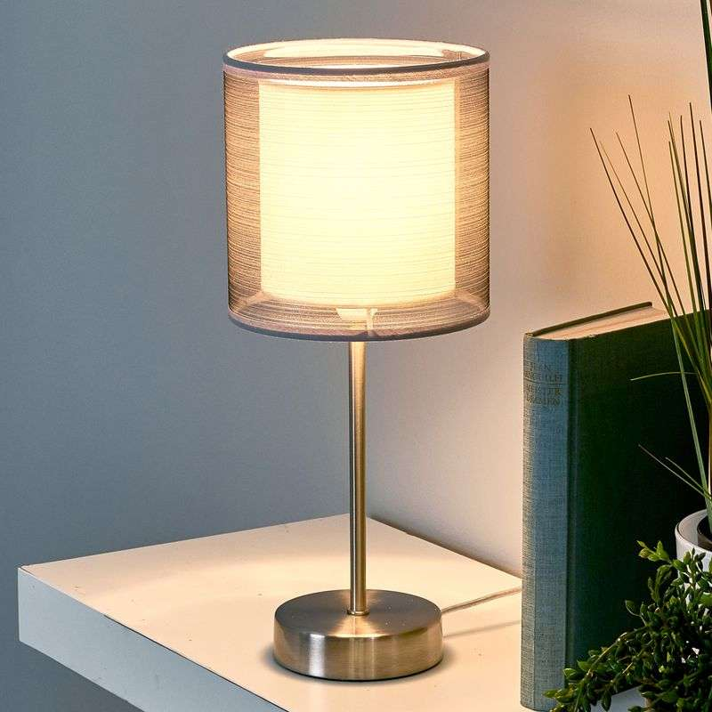 Attractive Nica bedside table lamp in grey Review thumbnail