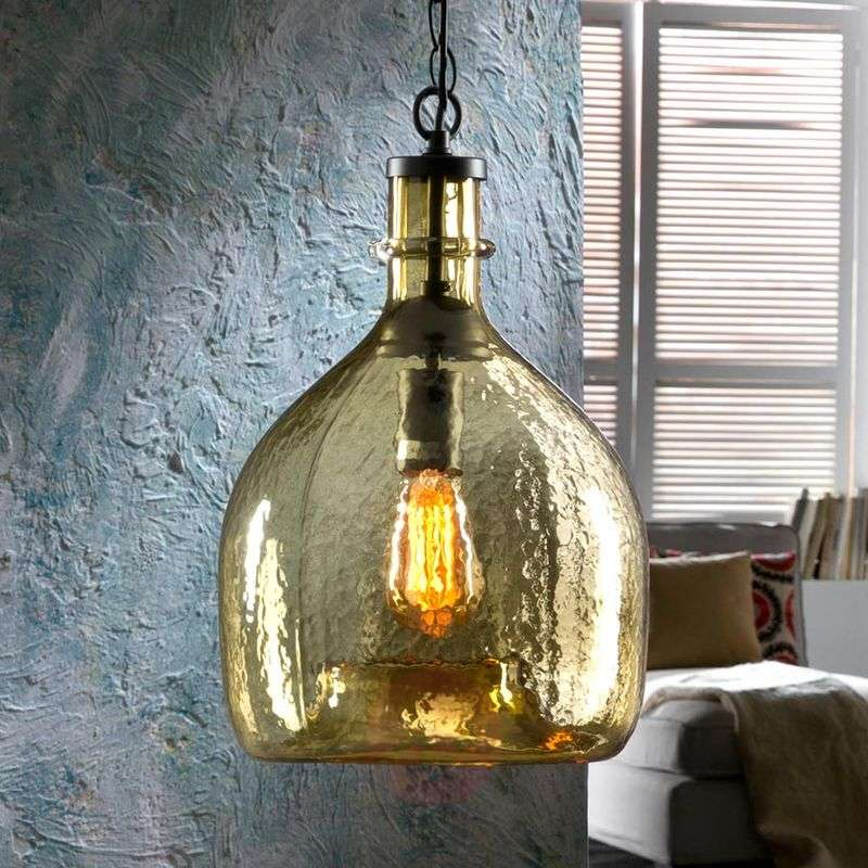 Laia glass hanging light in a retro look, amber